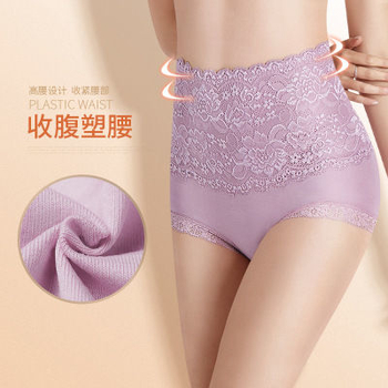 Women Cotton Lace Underwear High Waist Rise Panties Body Shaping Lingerie Breathable Female Slimming Tummy Control Pant