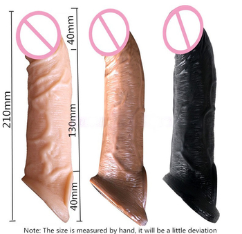 Belove Reusable Penis Sleeve Extender Realistic Penis Condom Silicone Extension Sex Toy For Men Cock Enlarger Condom Sheath Delay
