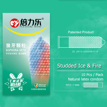Belove 10Pcs Fire & Ice Spike Condoms Large Dots Orgasm G-Spot Massage Penis Sleeve For Sex With Studs Funny Condoms For Men